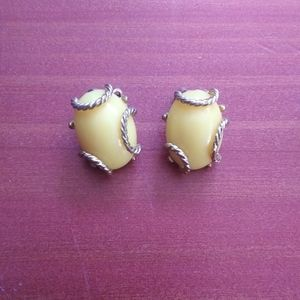 Vintage yellow stone silve clip on earrings